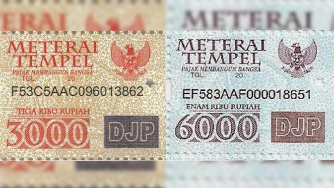 Materai Rp3000 dan Rp6000 | Foto: Yahoo Berita