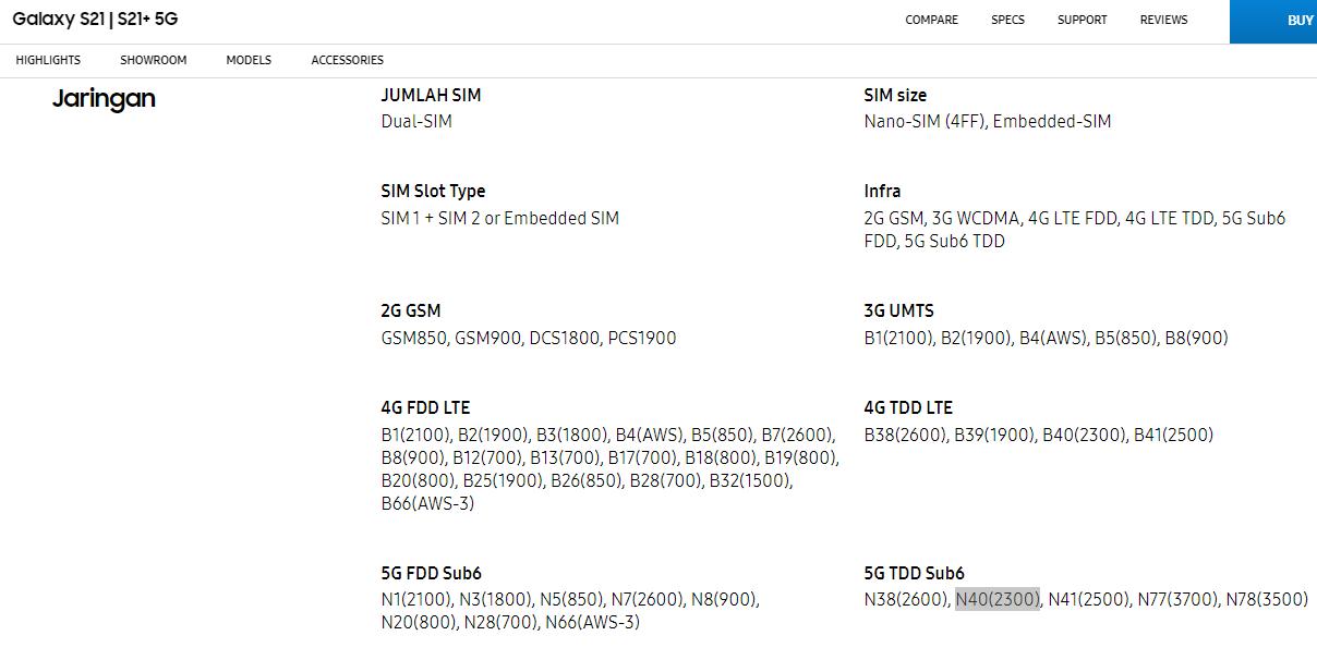 Contoh detail ponsel dengan spesifikasi 5G yang kompatibilitas dengan koneksi 5G milik Telkomsel