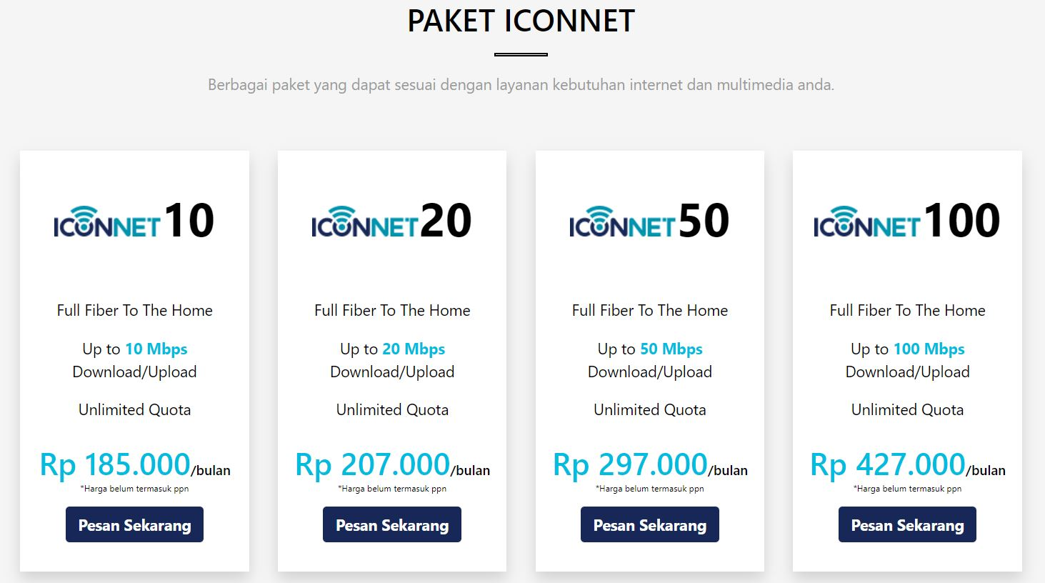 Detail paket data ICONNET