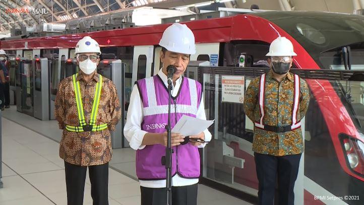 Konferensi pers Presiden Joko Widodo saat kunjungan proyek LRT Jadebek 9 Juni 2021   Tangkapan layar pers virtual/GNFI