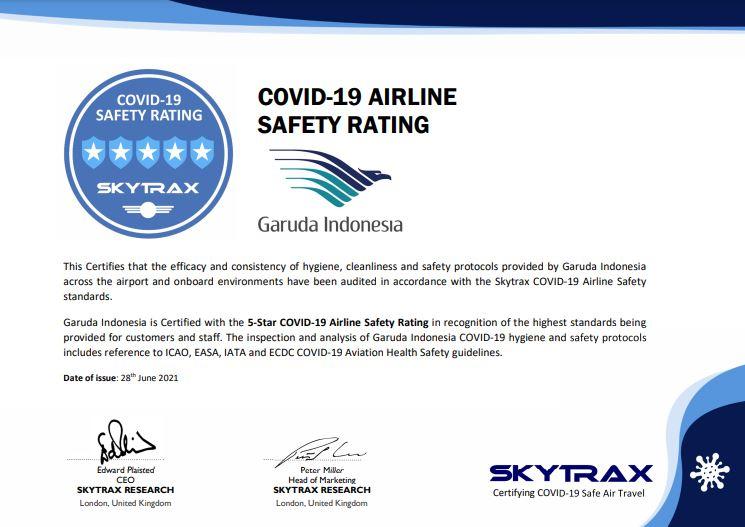 Sertifikat Covid-19 Airlien Safety Rating Garuda Indoenesia