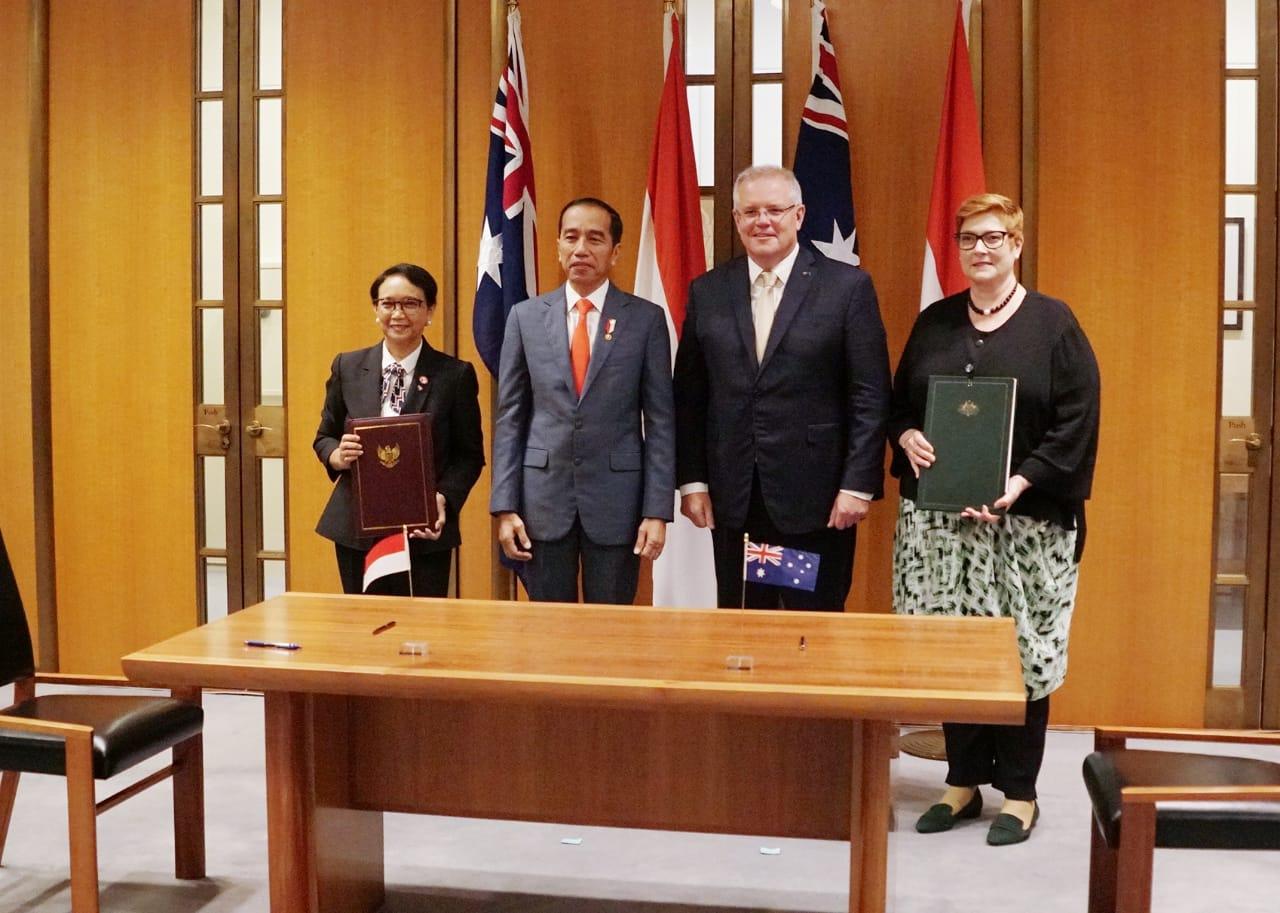 Menlu RI Retno Marsudi, Presiden Joko Widodo, PM Scott Morrison, dan Menlu Australia Marise Payne