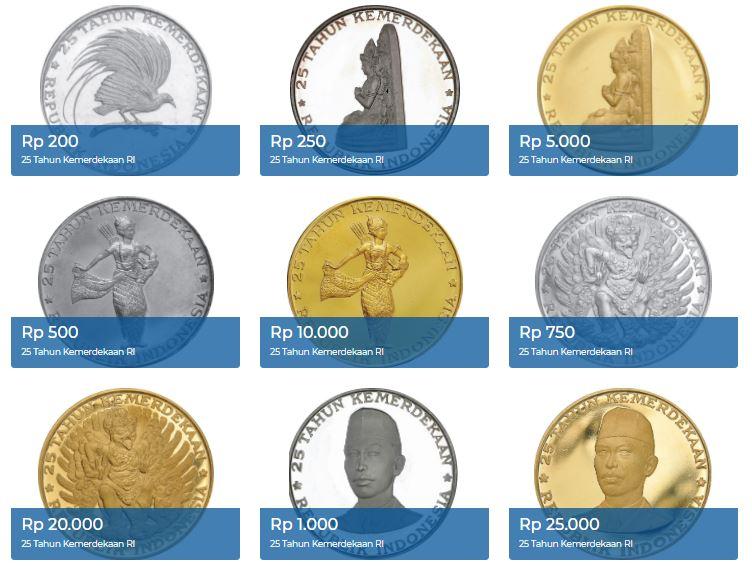 9 uang logam edisi khusus HUT RI ke-25