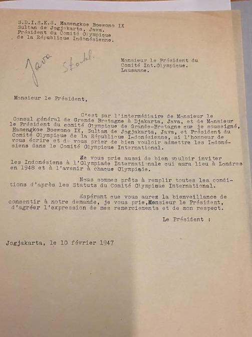 Surat yang dibuat Hamengkubuwono IX untuk IOC