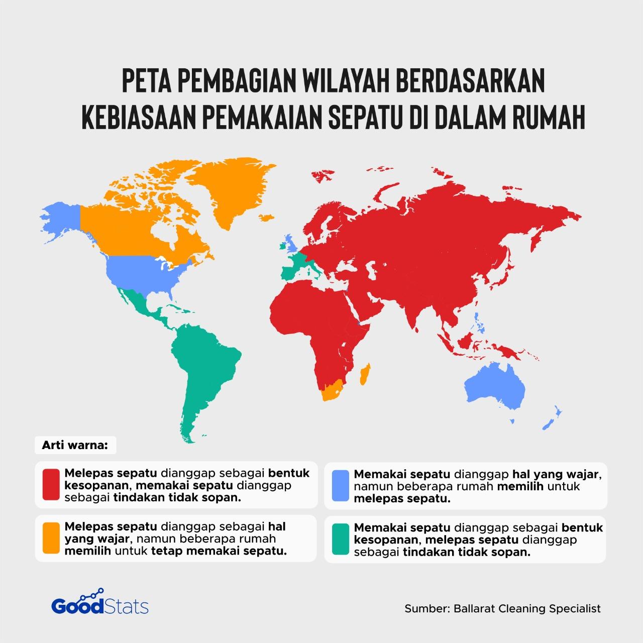 Hampir separuh wilayah negara-negara di dunia termasuk Indonesia mengadopsi kebiasaan melepas sepatu di dalam rumah. | Foto : GoodStats