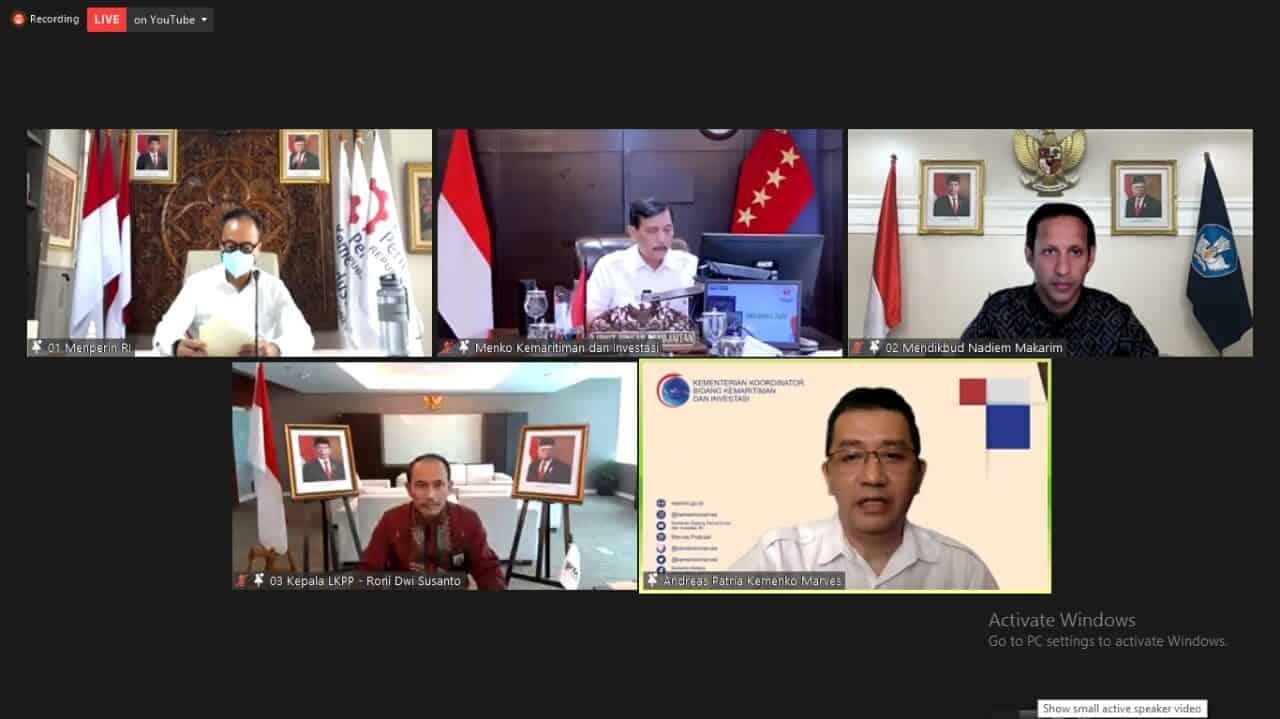 Konferensi pers virtual, Kemenperin, Kemenko-Marves, dan Kemendikbud-Ristek dalam pembahasan digitalisasi sekolah dan program pengadaan laptop merah putih