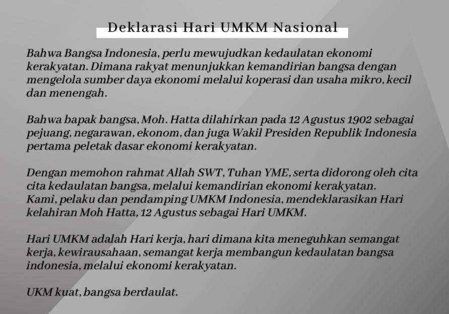 Deklarasi Hari UMKM Nasional