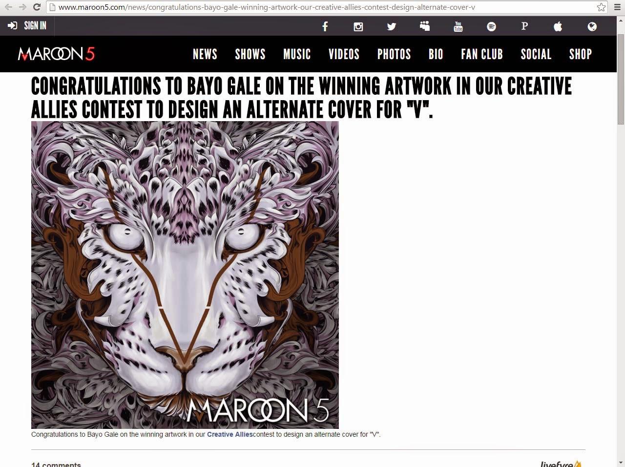 Karya Bayo Gale dalam album Maroon 5