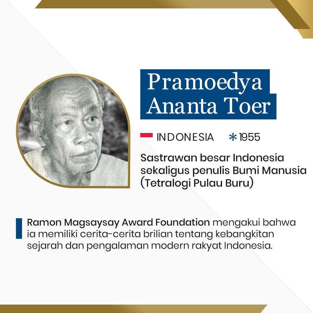 Pramoedya Ananta Toer sebagai Peraih Magsaysay Award pada 1995 | Twitter Watchdoc Indonesia