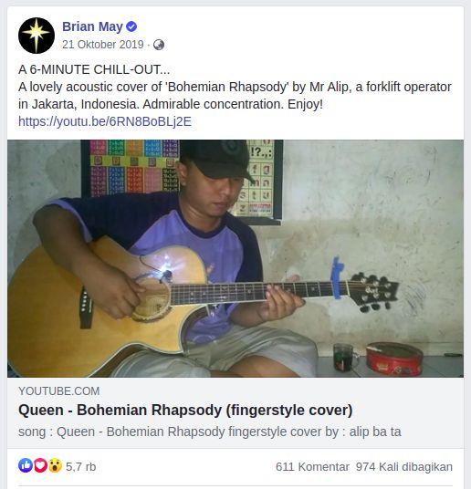 Postingan Brian May, gitaris band Queen yang mengapresiasi Alif