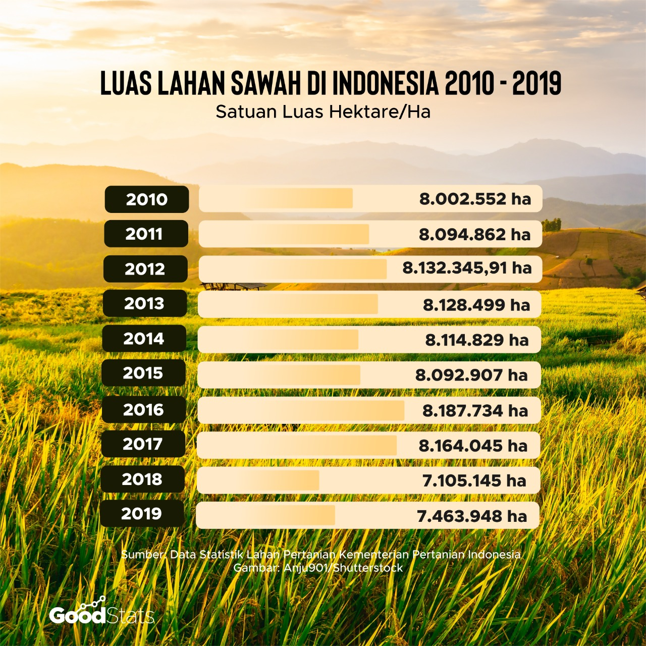 Luas lahan sawah di Indonesia dalam rentang waktu 10 tahun terakhir.   Infografis : GoodStats