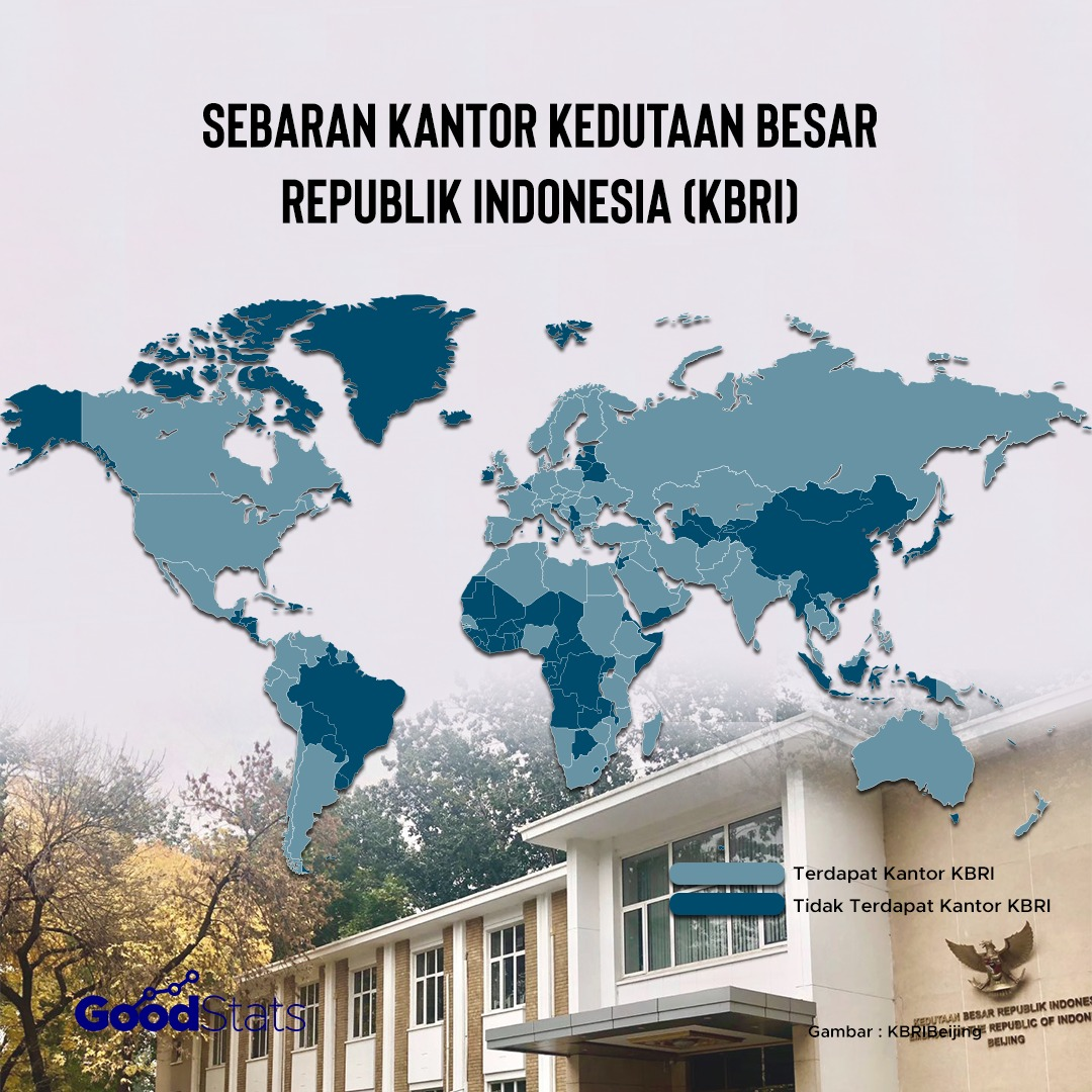 Peta sebaran perwakilan Indonesia melalui KBRI di berbagai negara. | Infografis : GoodStats