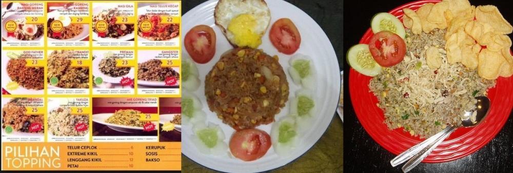 Aneka Nasi Goreng yang Disajikan dengan Nama Unik