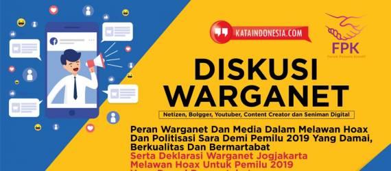 Warga Netizen Yogyakarta Akan Deklarasi Anti Hoax  Untuk Pemilu 2019 Yang Damai dan Bermartabat