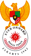 "Emblem/Logo Asian Games 1962 dengan motto ""Ever Onward"" yang artinya ""Madju Terus"""