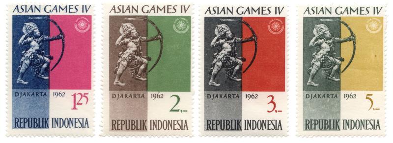 Perangko Edisi Asian Games diterbitkan dalam Nominal 1.24, 2, 3 dan 5 rupiah