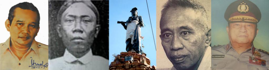 Para Pahlawan Nasional kiri - kanan: Mas Isman, Ki Bagus Hadikusumo, I Gusti Ngurah Made Agung (monumen), Bernard Wilhem Lapian, Moehammad Jasin.