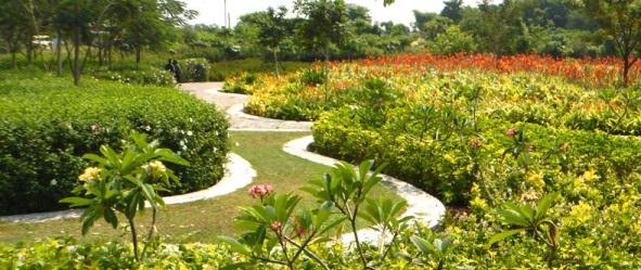 Taman Sakura yang dibangun diatas tanah bekas TPA Keputih Surabaya