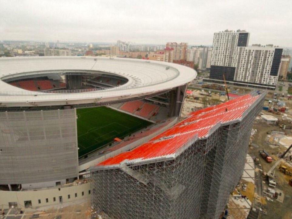 Tribun portable Yekaterinburg Arena | Foto: Daily Mail