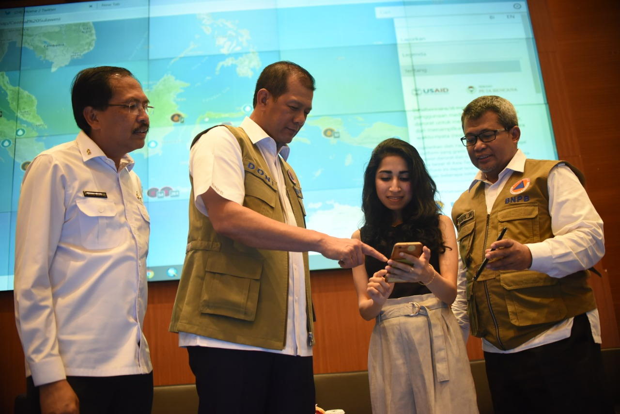 Simulasi penggunaan PetaBencana.id   Foto: Dok. BNPB
