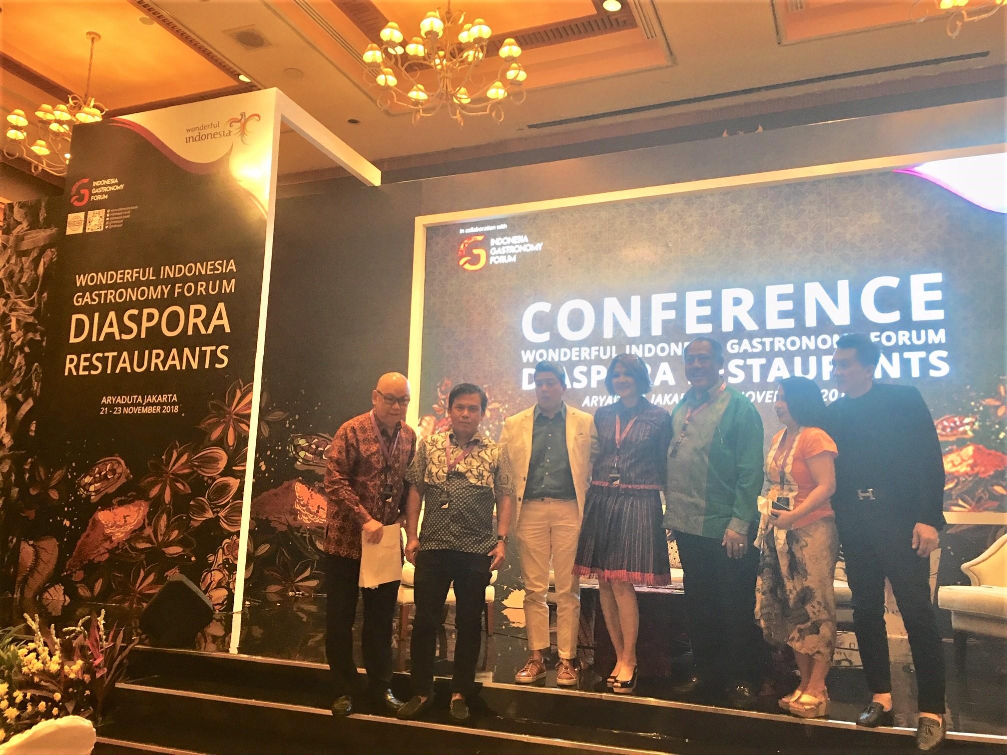 Pembicara di Wonderful Indonesia Gastronomy Forum Diaspora Restaurants   Foto: IDBC