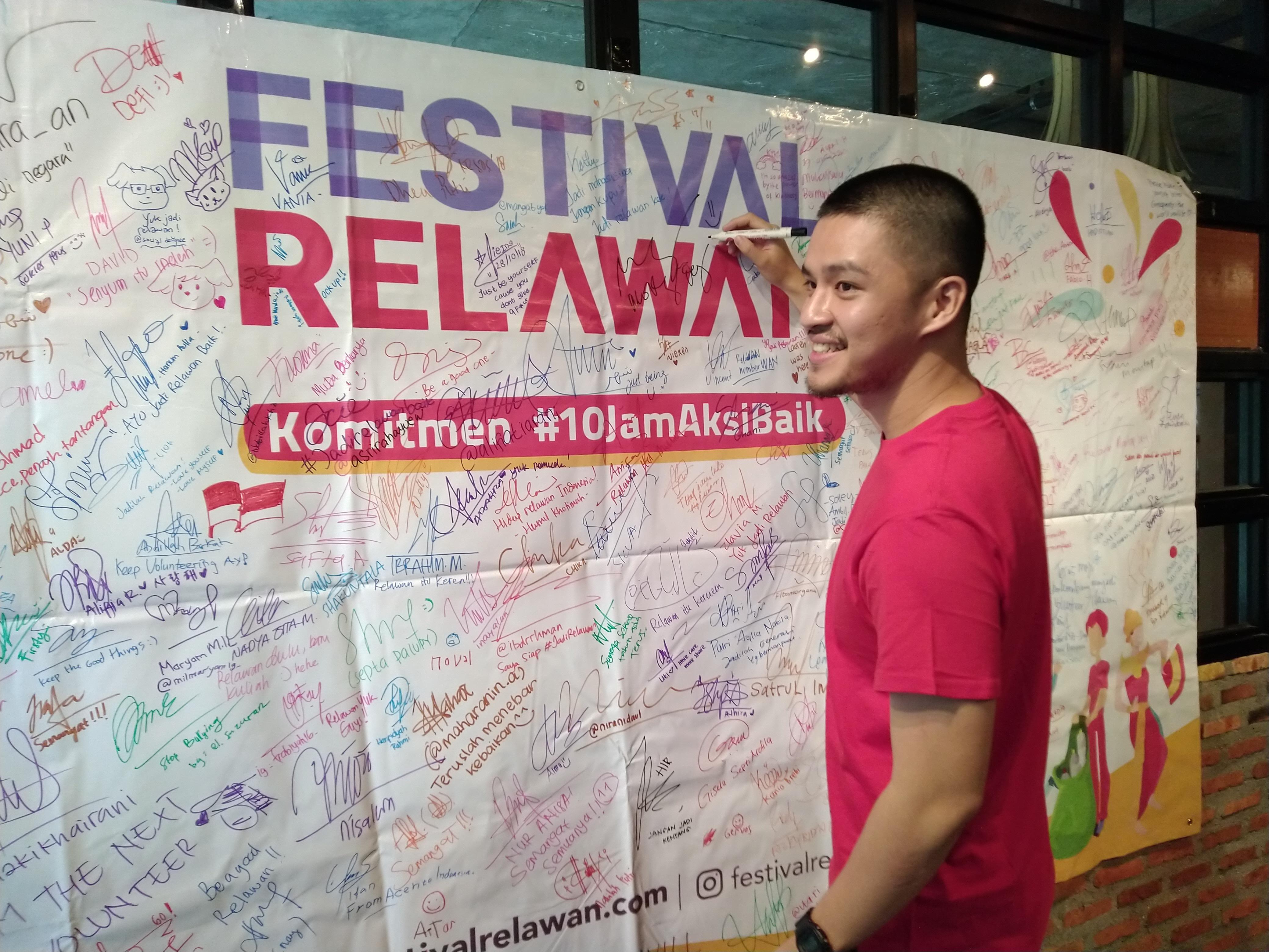 Morgan Oey di konferensi pers Festival Relawan 2018 | Foto: Aditya Jaya