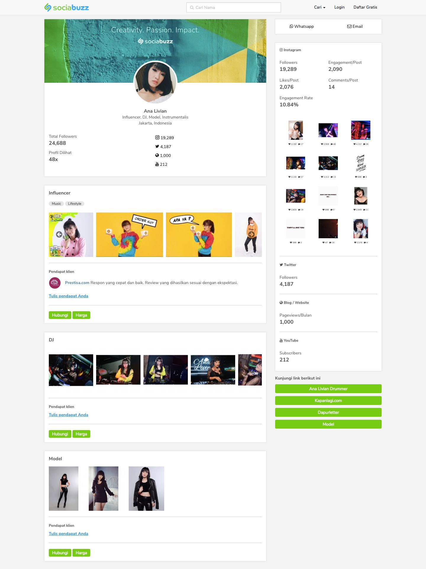 Contoh profil profesional kreatif di SociaBuzz Pro | Foto: SociaBuzz