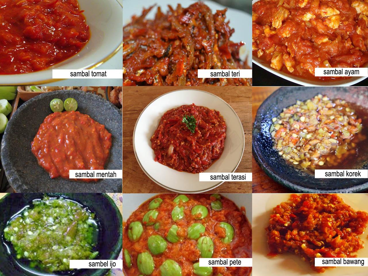 Ragam sambal di Indonesia (sumber : Delivery Foods Jogja - blogger)