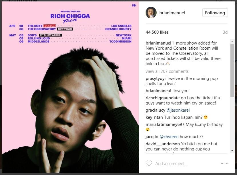 Rich Chigga's Tour Schedule (sumber : Instagram)