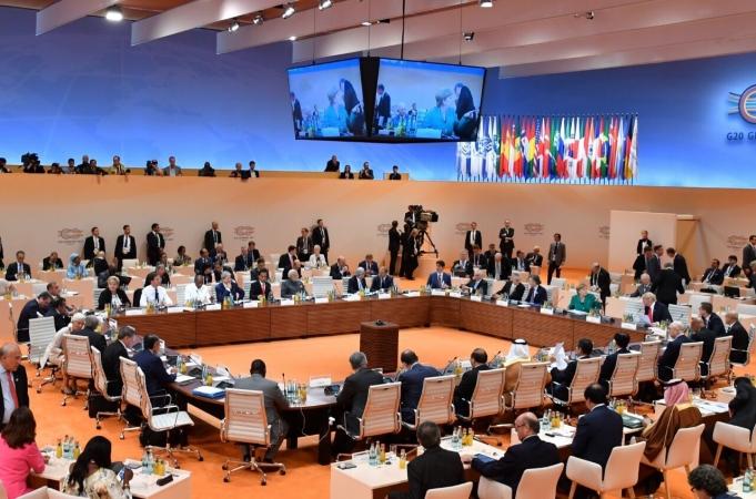 Suasana forum Leaders' Retreat Sesi II Konferensi Tingkat Tinggi (KTT) G20 di Hamburg Jerman, Jumat (7/7/2017). (Foto: BPMI Setpres)