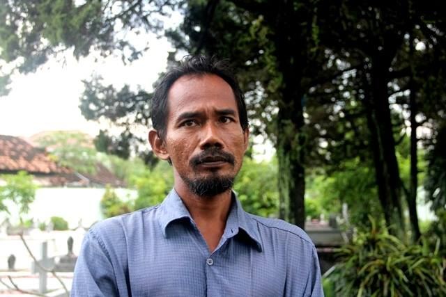 Eko Widiyantoro, juru kunci Taman Wijaya Brata. © Adriani/GNFI