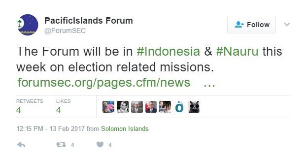 Akun Forum Kepulauan Pasifik kabarkan rencana kunjungi Pemilukada Indonesia.