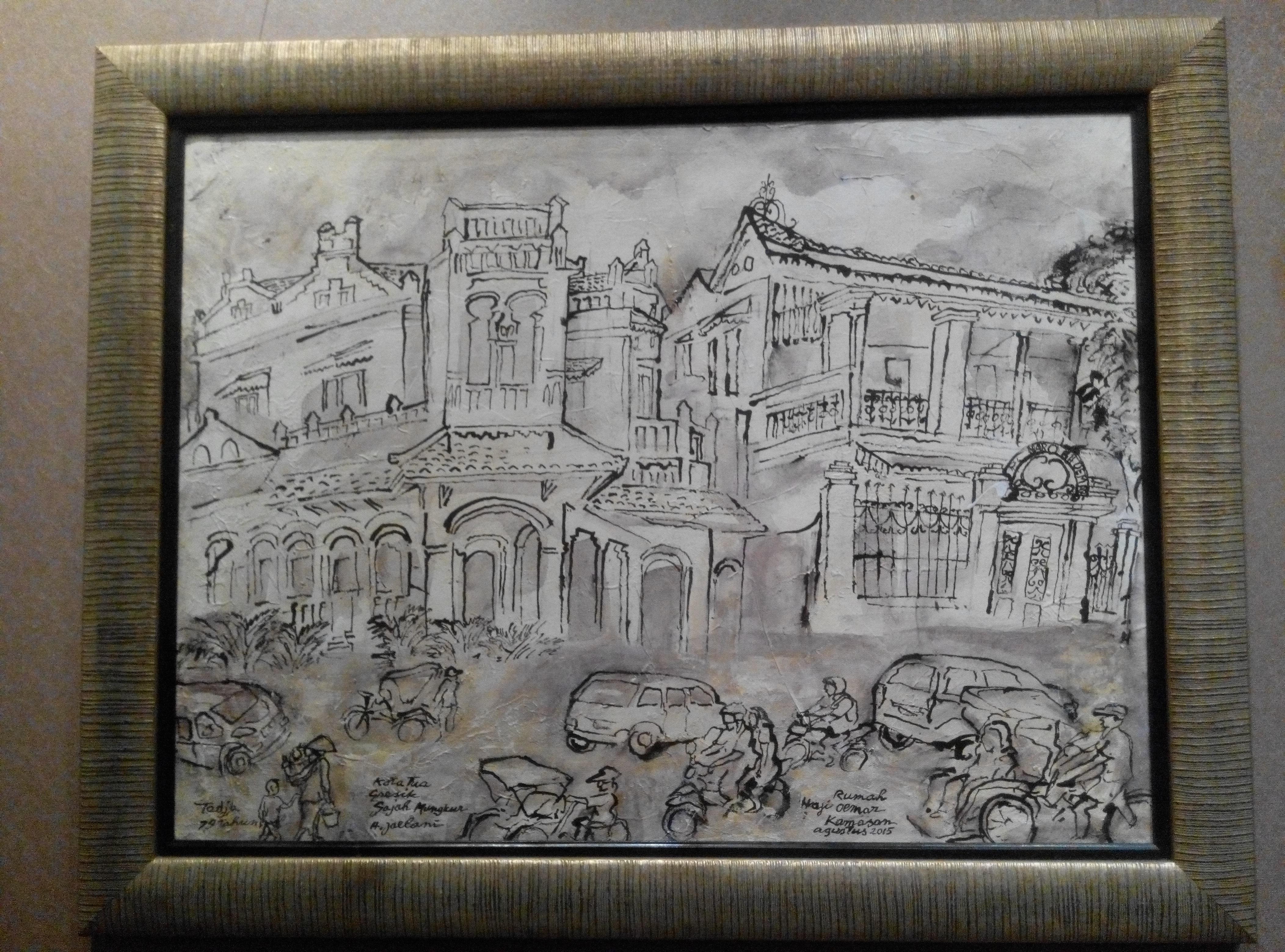 Lukisan tentang Masyarakat Kota Gresik karya Tedja Suminar
