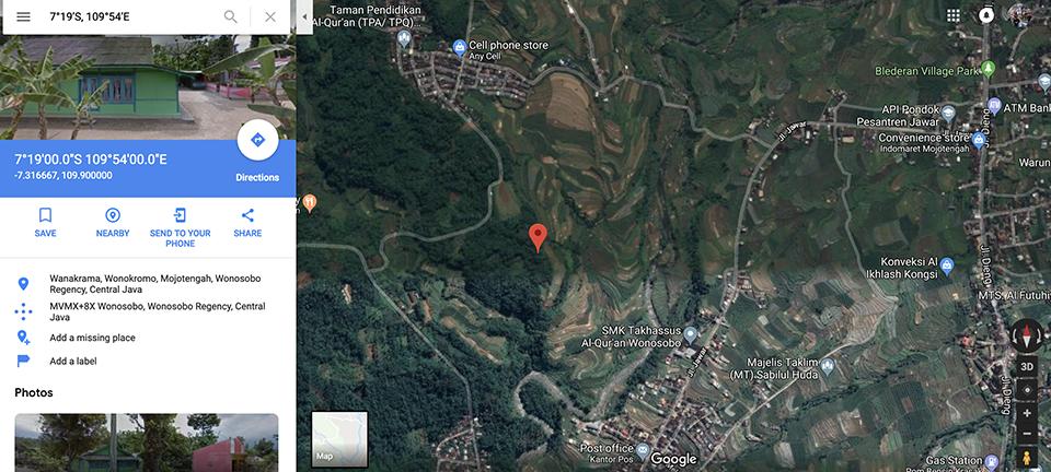 Titik tengah Jawa | google map