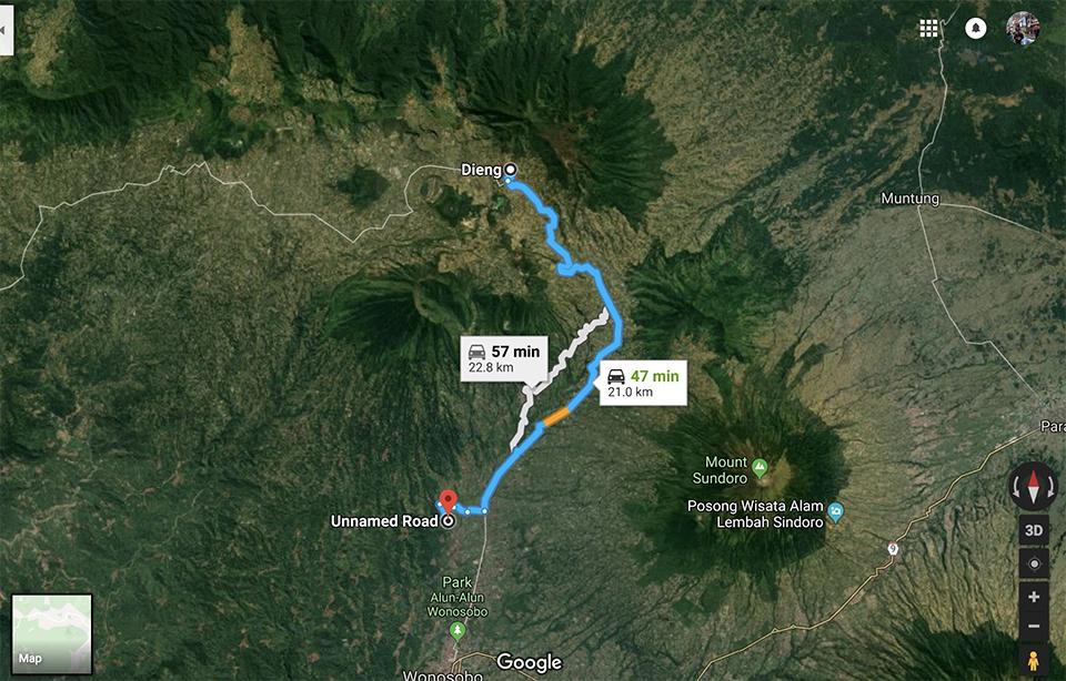 Titik tengah Jawa ke Dieng | Google Map