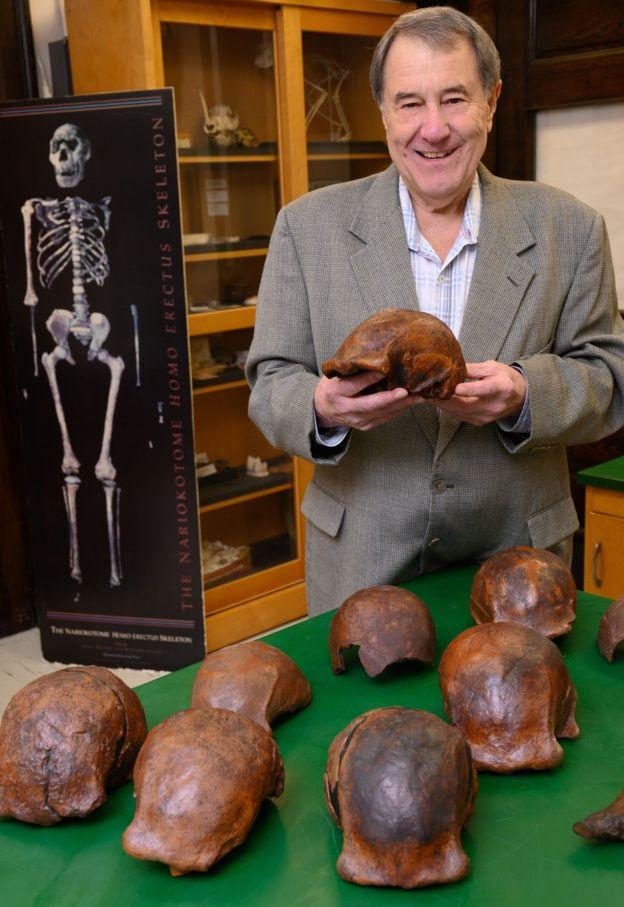 Image captionProfesor Russell Ciochon dengan replika tengkorak Homo erectus yang ditemukan di Dusun Ngandong.