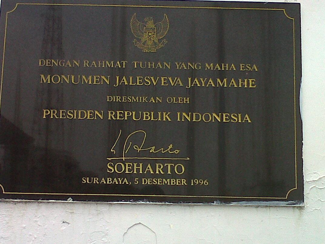 Pengesahan Didirikannya Monumen Jalesveva Jayamahe oleh Soeharto