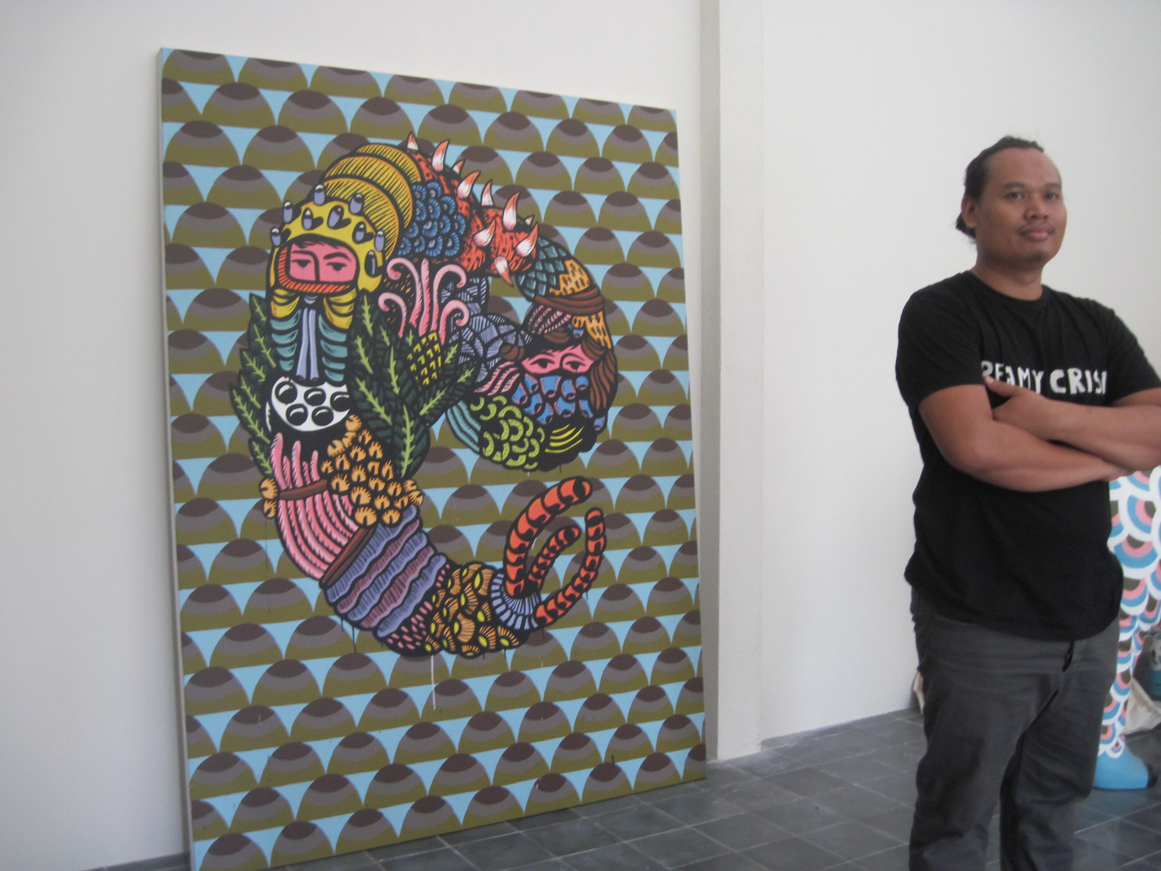 Eko Nugroho Bersama Karyanya | Sumber dok: lewat tenggat - WordPress.com