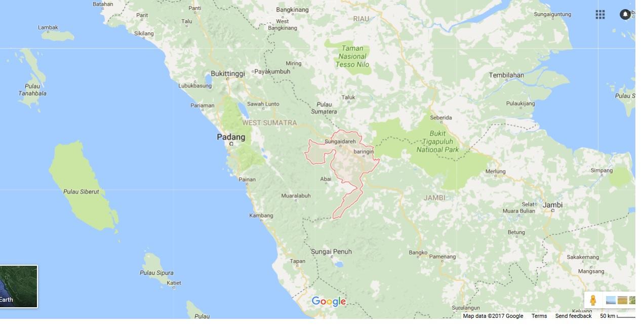 Kabupaten Dharmasraya, Sumatera Barat. sumber : Google Maps