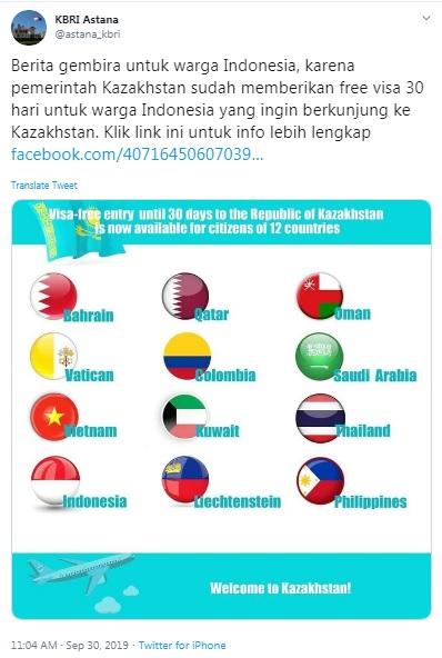 Pengumuman bebas visa untuk kunjungan ke Kazakhstan
