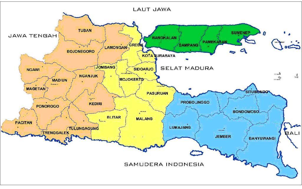 Peta pembagian wilayah kebudayaan Jawa Timur (Foto: Malangcorner)