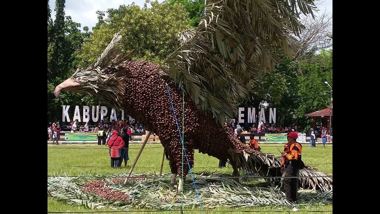 Patung Elang Jawa raksasa yang dibuat dari 1,4 ton salak ini sengaja diberdirikan di tengah lapangan untuk menarik perhatian para warga