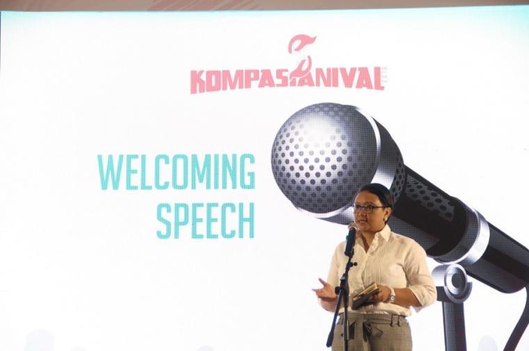 Menlu Retno berpidato dalam acara Kompasianival yang berlangsung pada Agustus 2016 lalu (foto: dokumentasi Kompasiana)