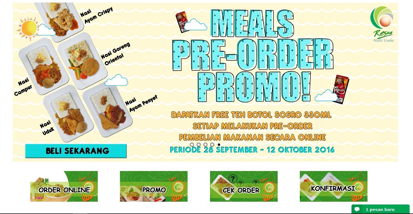 Tampilan laman Pre Order makanan Kereta Api (source: preorder.reska.co.id)