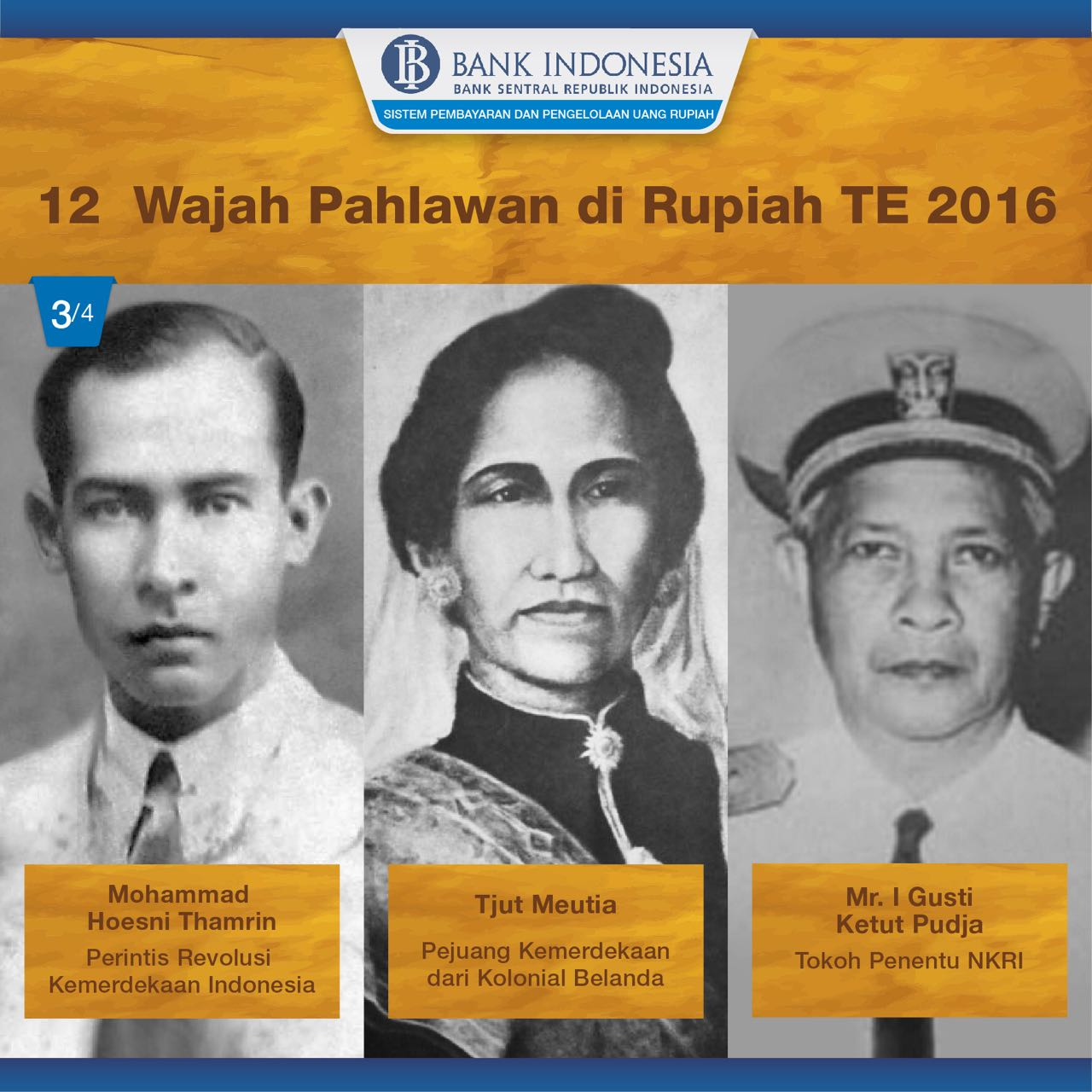 Pecahan uang yang baru nanti sudah menampilkan 12 tokoh pahlawan yang baru (foto: Dok. Bank Indonesia)