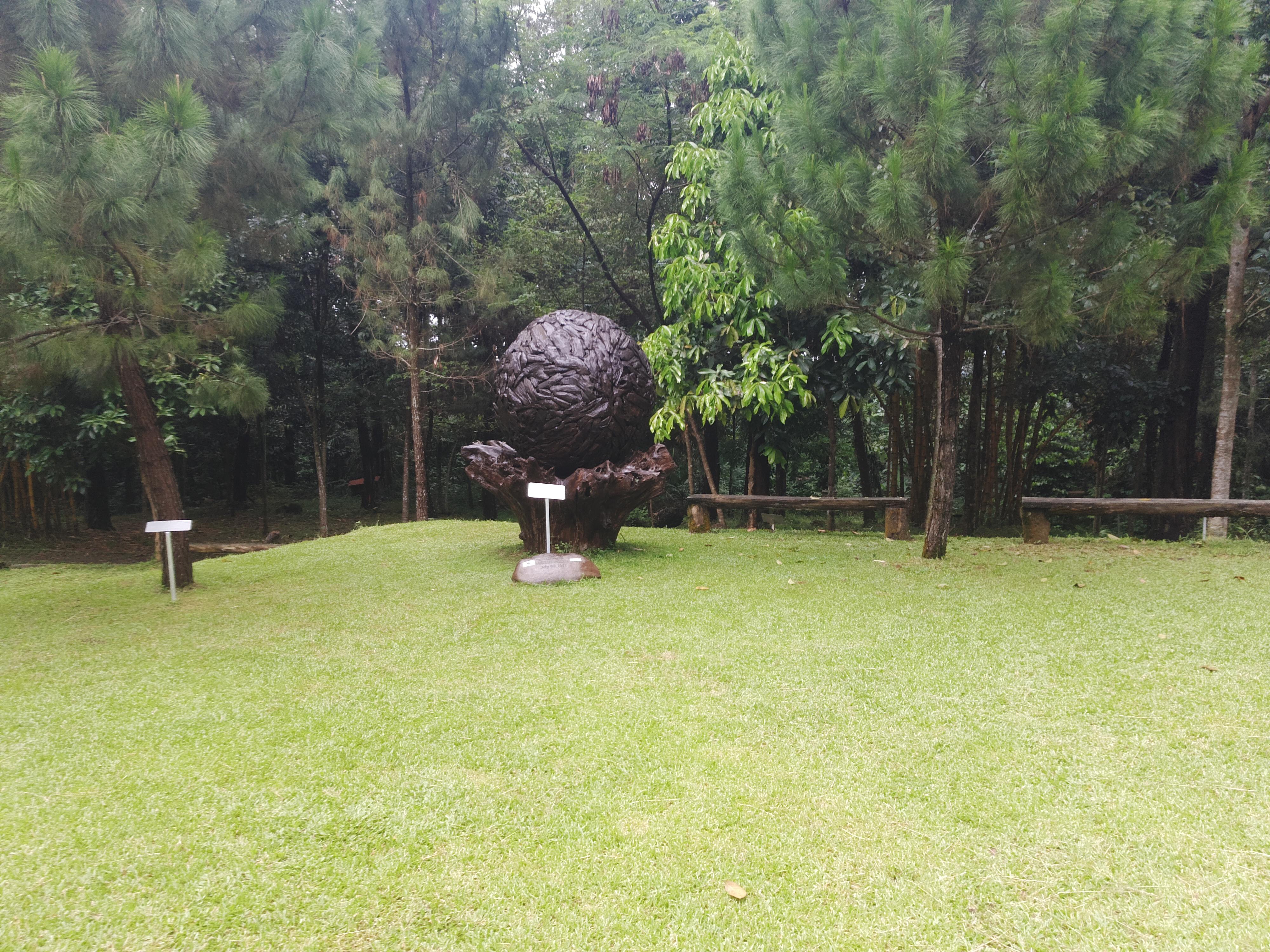Monumen Bola Dunia terbuat dari kayu jati |