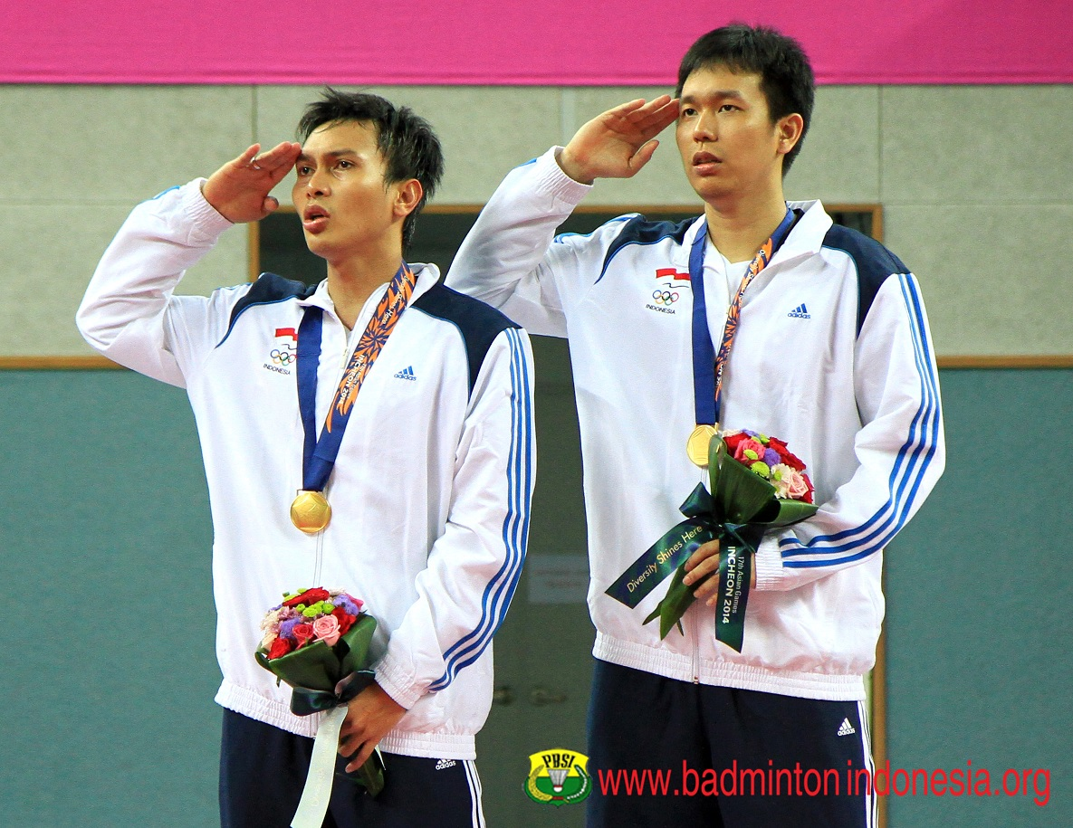Podium Ahsan/Hendra di Asian Gmaes Incheon 2014