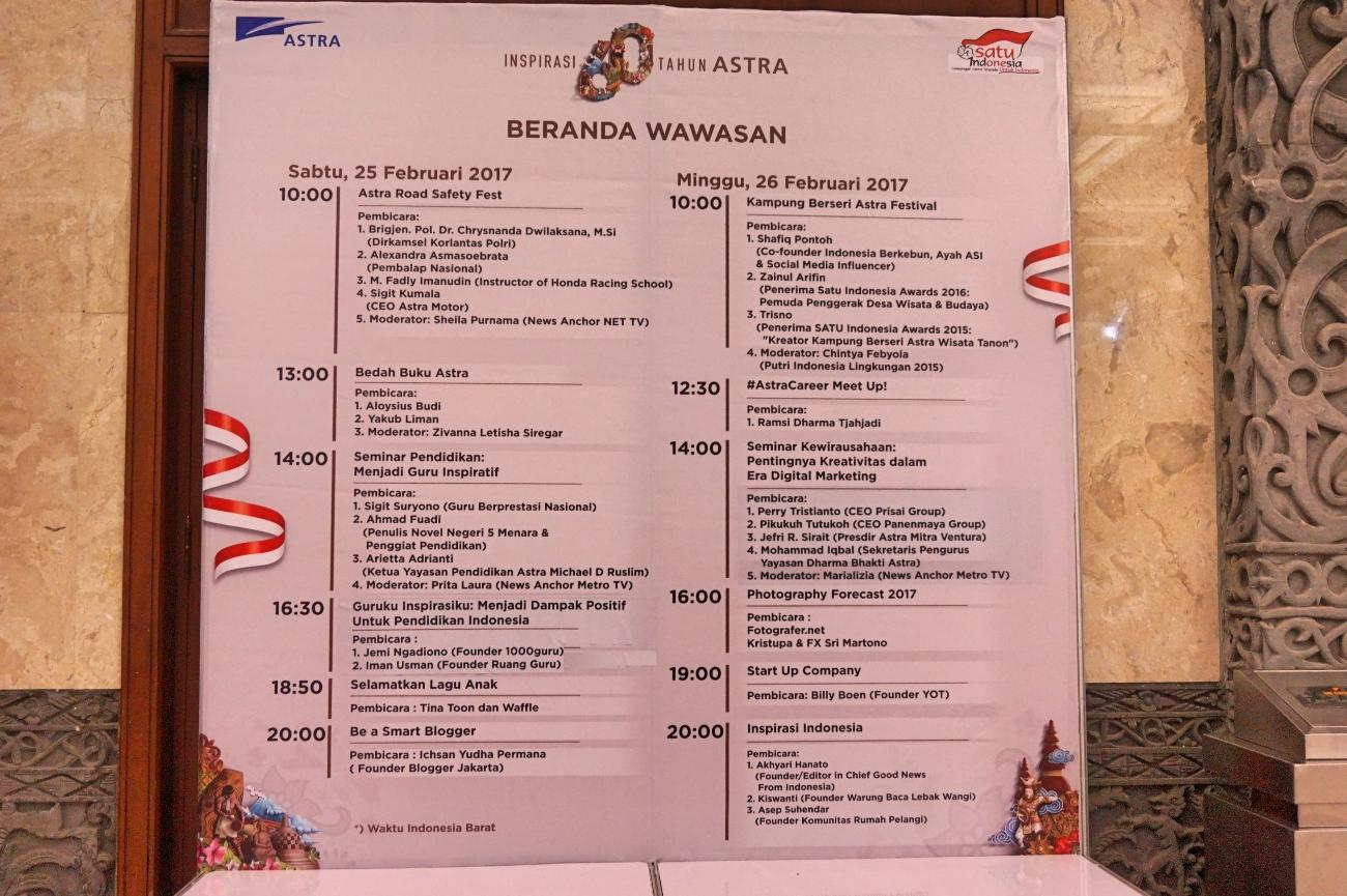 Jadwal kegiatan talkshow dan diskusi (Foto: Bagus DR/GNFI)