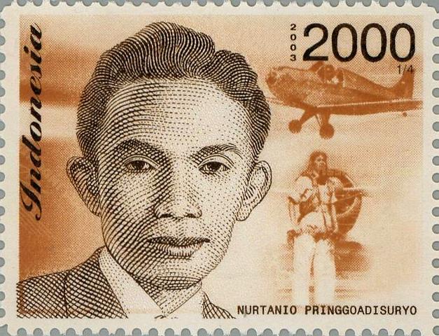 Perangko bergambar Nurtanio Pringgoadisuryo yang diterbitkan tahun 2003 (foto: wikimedia.org)