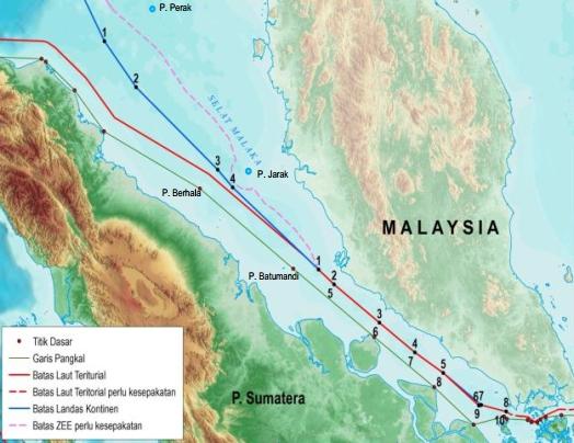 Perbatasan RI di selat Malaka, peta lama (Gambar: Kemenko Kemaritiman)